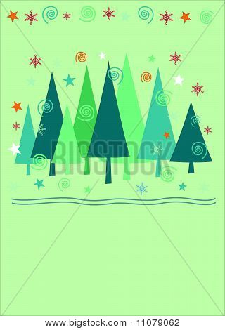 Christmas tree background . Winter landscape