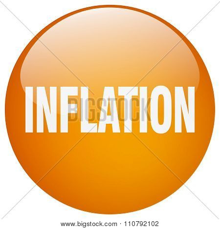 Inflation Orange Round Gel Isolated Push Button