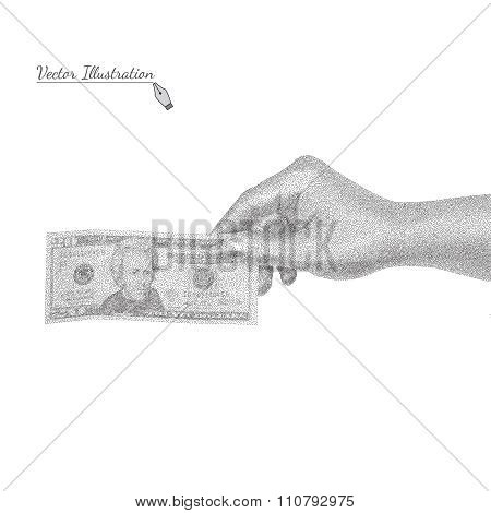Hand with a banknote in black and white graphic style