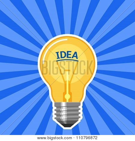 Idea concept with light bulb with blue rays