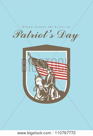 Patriots Day Greeting Card American Revolutionary Serviceman Horse Flag
