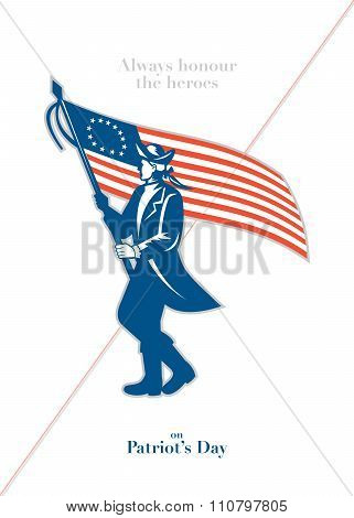 Patriots Daygreeting card featuring an illustration of an American patriot soldier military serviceman waving holding USA stars and stripes flag walking marching viewed from the side set on isolated white background done in retro style with the words Al poster
