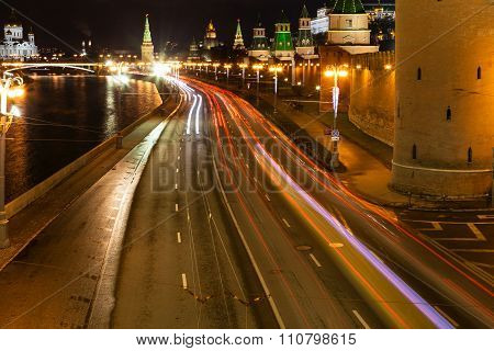 above view of Kremlin embankment in Moscow in night poster