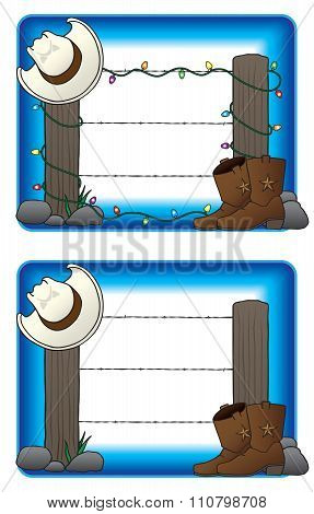 Fence with Cowboy Hat and Boots