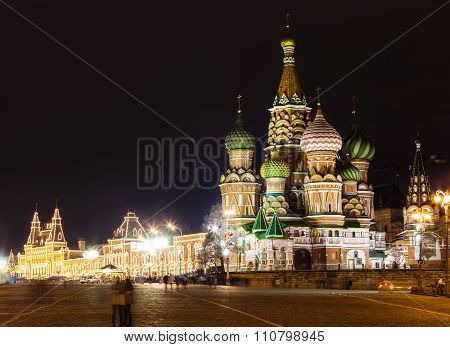 View Of Saint Basil's Cathedral In Moscow In Night