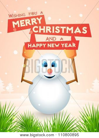 Merry Christmas and Happy New Year celebrations Flyer, Banner or Pamphlet with cute Snowman.