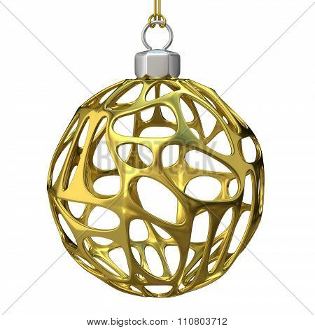 Gold perforated Christmas ball. 3D render