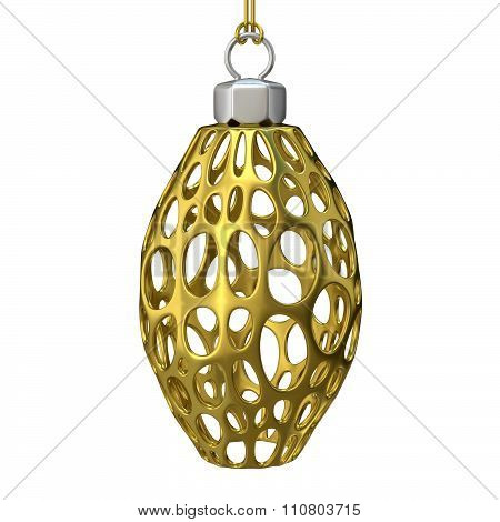 Gold Christmas ornament. 3D render