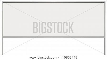 White Metal Ad Sign Board Signage, Isolated Blank Empty Roadside Advertising Billboard Copy Space