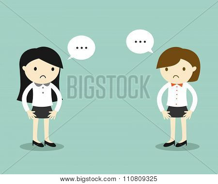 Business concept, Two business women feeling awkward with each other.