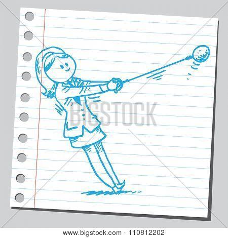 Businesswoman throwing hammer ball