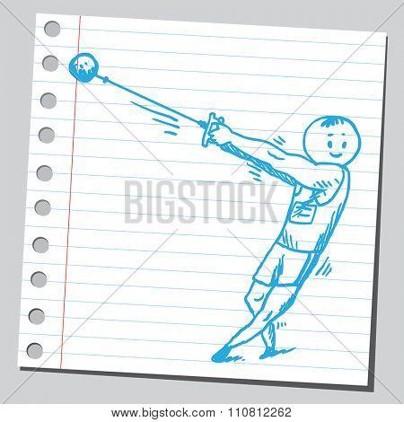 Athlete  throwing  hammer ball