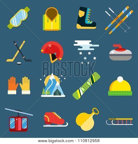 Winter sport vector icons. Winter sport games icons symbols. Winter sports icons flat. Winter games sport icons. Ski, sport, extreme sports, winter games, sport icons, snowboarding, winter clothes