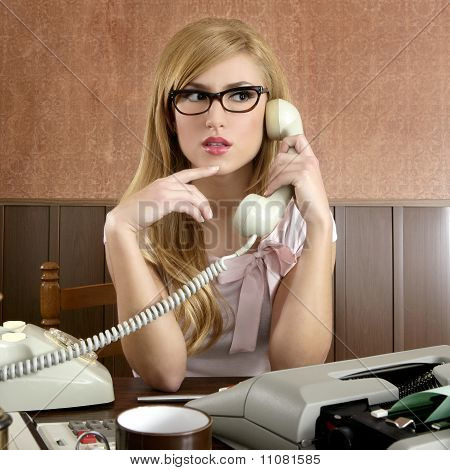 Beautiful Retro Businesswoman Vintage Secretary