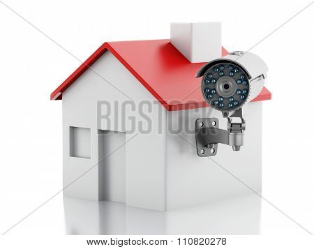 3d illustration. House with CCTV camera. Security concept. Isolated white background poster