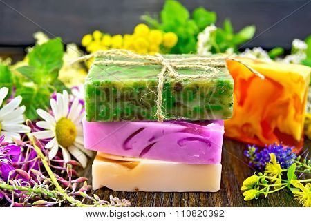 Soap Homemade With Flowers And Leaves On Board