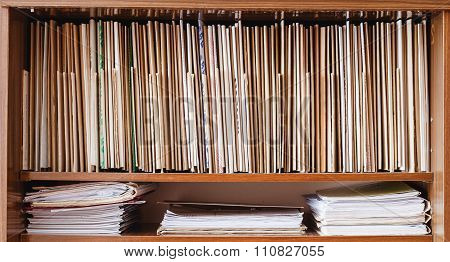 Vintage Keeping Retro Records On Wooden Shelves