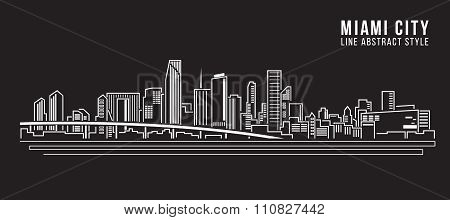 Cityscape Building Line art Vector Illustration design - Miami city