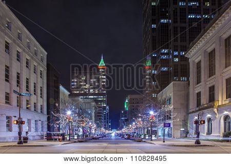 street view of downtown Raleigh, North Carolina at night