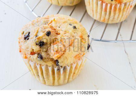 Tasty homemade carrot raisin muffins.