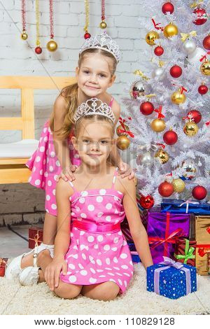 Two Girls At The Beauty Of Christmas Trees