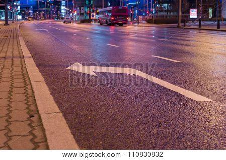 Turn Left Sign Marking On Asphalt