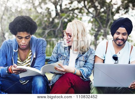Group Students Studying Bleachers Together Concept