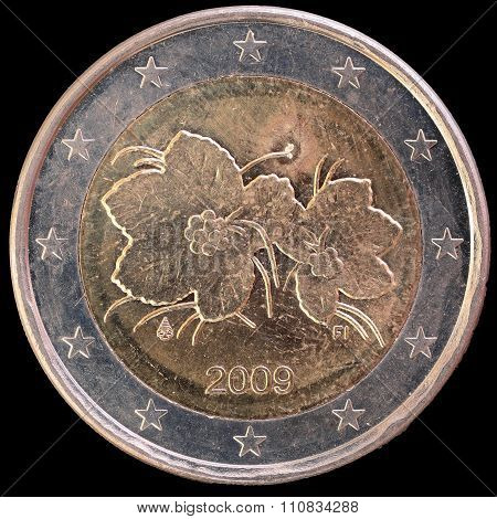 National Side Of Finland Two Euro Coin On Black Background
