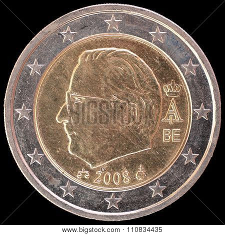 National Side Of Belgium Two Euro Coin On Black Background
