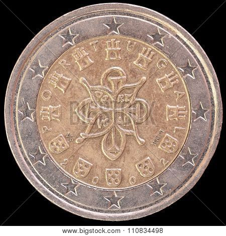 National Side Of Portugal Two Euro Coin On Black Background