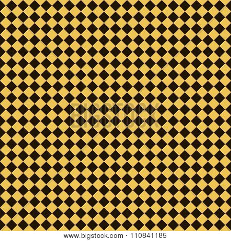 Seamless Checkered Chess Pattern In Yellow, Black And Brown Colors