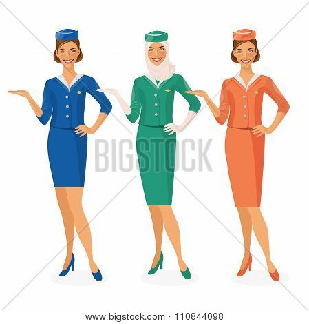 Set of air hostesses