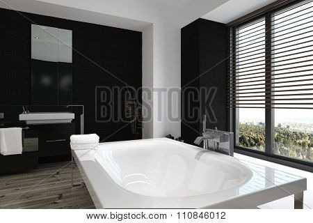 Close up high angle view of a modern freestanding white bathtub in a luxury black and white bathroom interior with large windows overlooking a garden, 3d, rendering