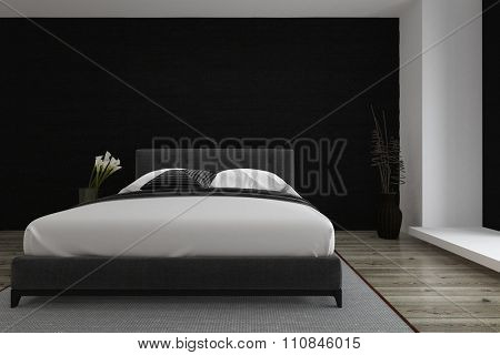 Stylish black and white bedroom inter with a queen size divan style bed and wooden parquet floor lit by daylight from an adjacent window. 3D Rendering.