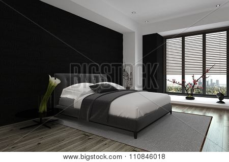 Modern Architectural Interior Design of a Spacious Master Bedroom in Gray and White Color Combination. 3D Rendering.