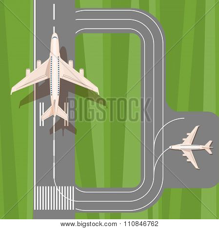 Runway with jet aircraft top view. Takeoff and landing airplanes set.