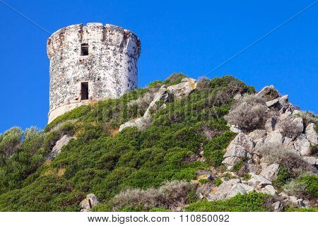 Tour Parata. Ancient Genoese tower on Sanguinaires peninsula near Ajaccio Corsica island France poster