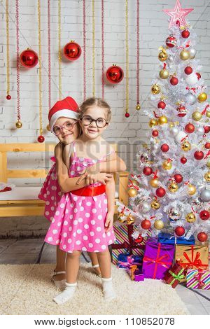 The Girl Hugged The Other Girl In Funny Round Glasses