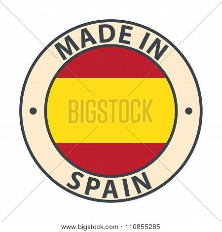 Made in Spain badge with flag