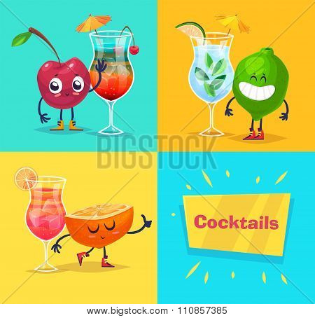 set of fruit characters and cocktails. Vector cute cartoons