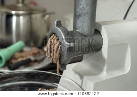 Electric Mincer And Beef