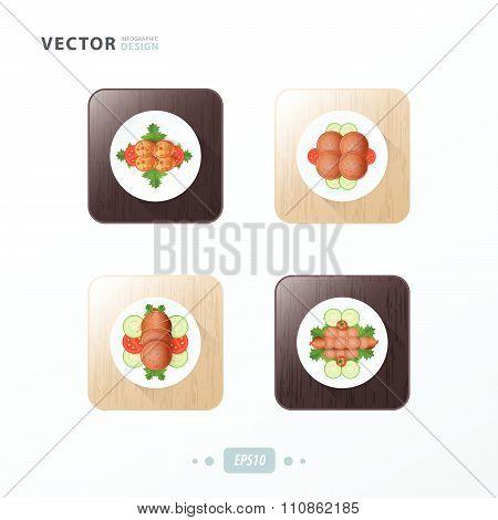 Hot Dog And Salad Icons Design Food On Wood