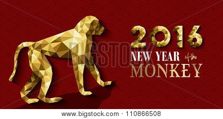 2016 Happy Chinese New Year Monkey Gold Low Poly