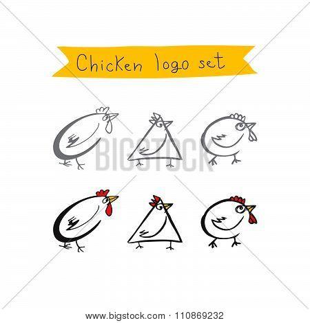 Chicken logo set. Vector