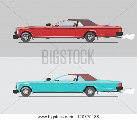 Muscle cars, red and Turquoise