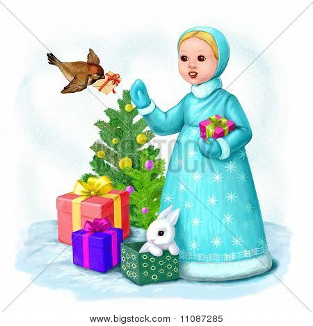 Little Snow Maiden With Letter