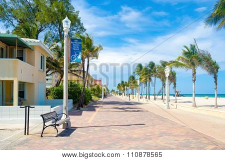 The famous Hollywood Beach boardwalk in Florida