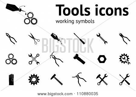 Tools icons set. Wrench key glue pliers cogwheel hammer, gloves, screw, bolt, nut, scissors. Repair