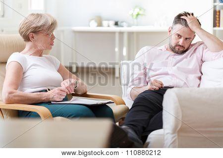 Psychologist Analysing Patient Behaviour