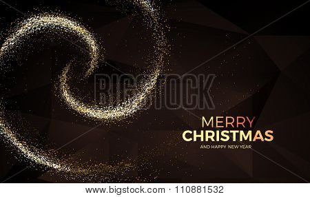 Christmas Background With Gold Magic Star Dust. Vector Illustration